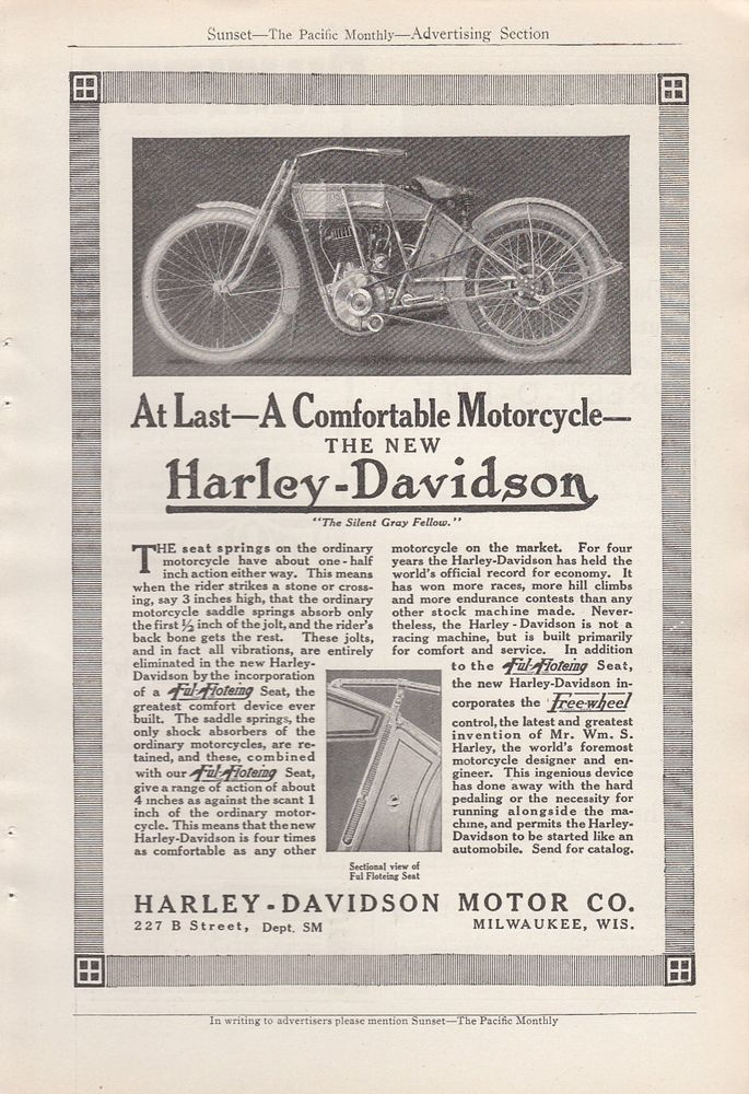 1912 - Harley-Davidson at last a comfortable motorcycle