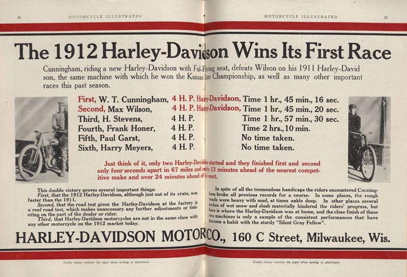 1912 - buenos puestos de Harley-Davidson en las carreras