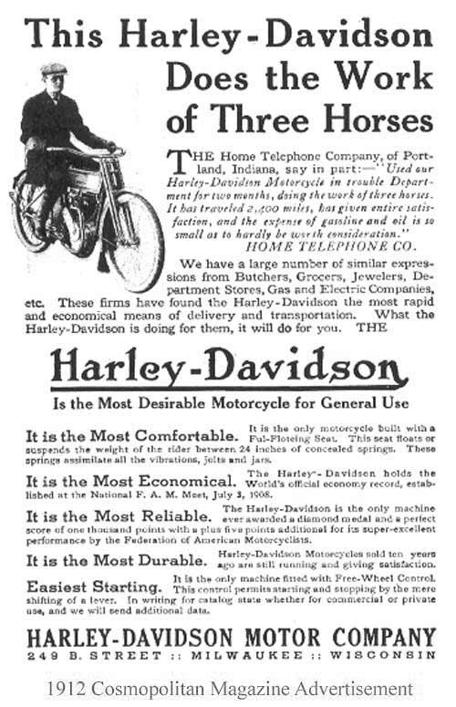 1912 - Harley-Davidson works of three horses