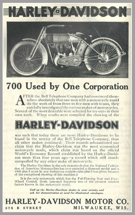 1913 - Harley-Davidson - 700 used by one corporation