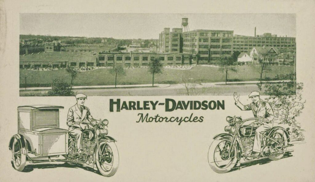 harley-davidson Fabrica Tarjeta postal