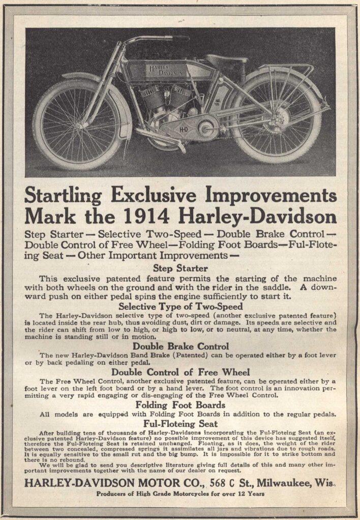 1914 - Startling Exclusive Improvements - Harley-Davidson
