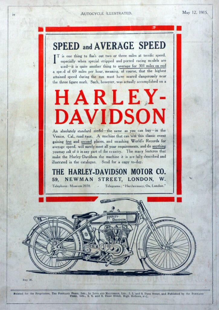 1915 - Harley-Davidson - Speed and Average