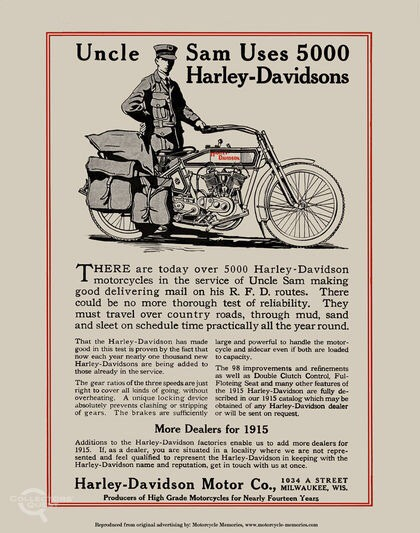 1915 Uncle Sam Uses 5000 Harley-Davidson