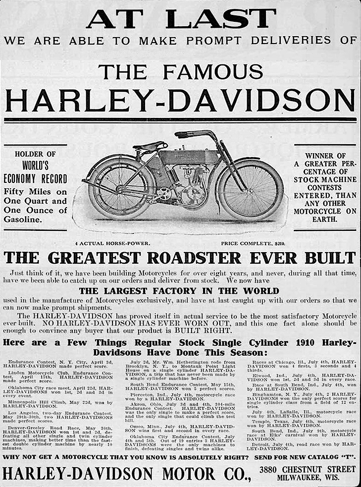 1910 - The Famous Harley-Davidson