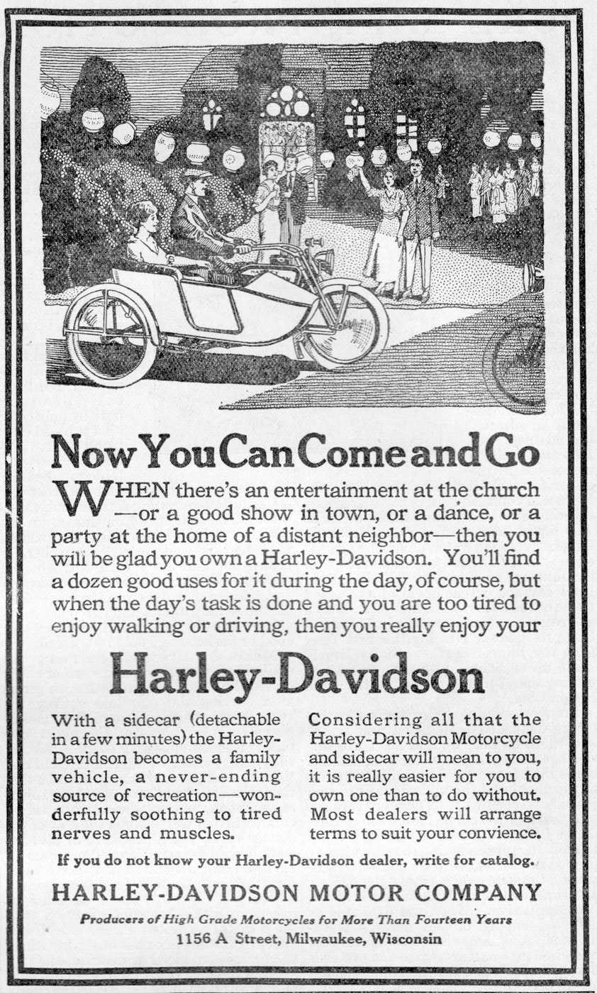 1916 - Now you can come and go - Harley-Davidson