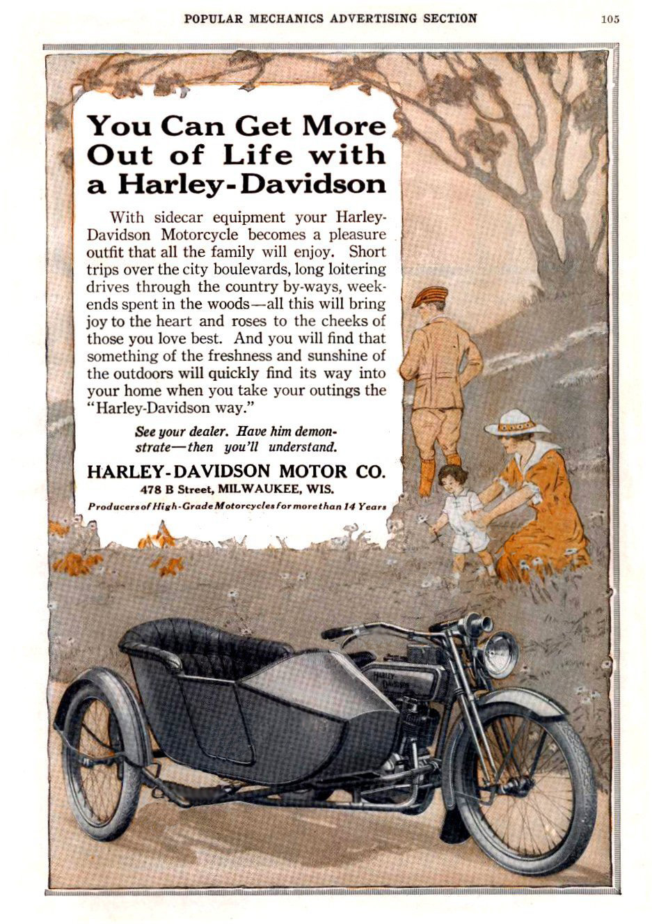 1916 - You can get more out of life with a Harley-Davidson
