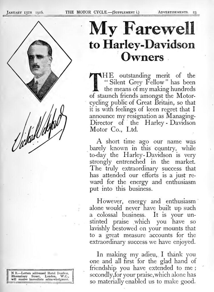1916 - Harley-Davidson anuncio