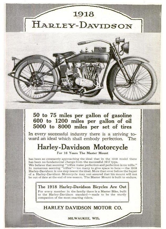 1918 - Harley-Davidson 50 to 75 miles per gallon