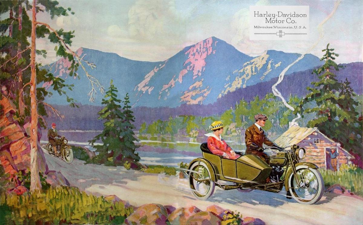 1918 - Harley-Davidson paseo en el campo