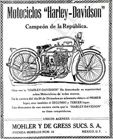 1921 - Harley-Davidson - Motociclos Mexico