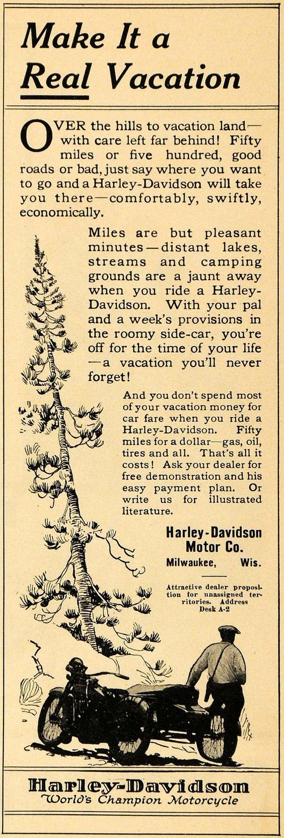 1922 - Harley-Davidson - Make a real vacation