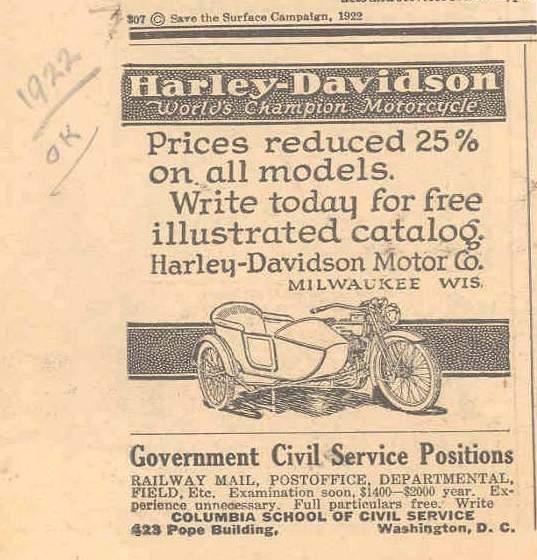 1922 - Harley-Davidson - Precios reducidos