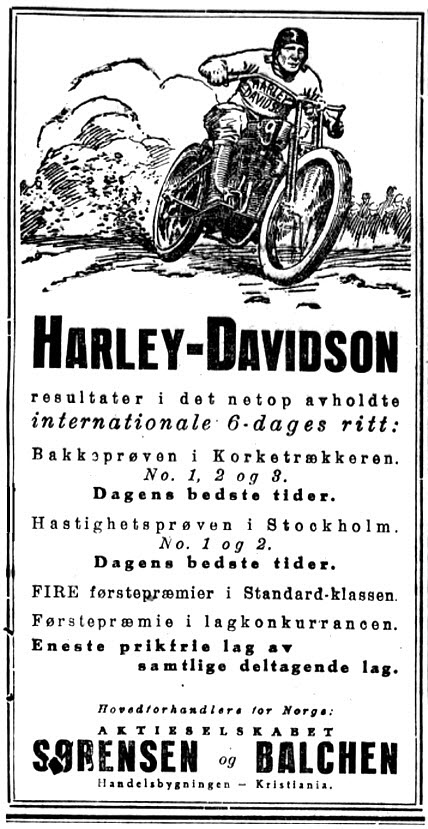 1923 - Distribuidor Harley-Davidson Sorensen de Noruega